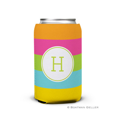 Bold Stripe Personalized Boatman Geller Can Koozies