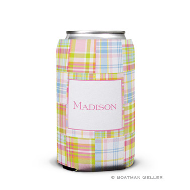 Madras Patch Pink Personalized Boatman Geller Can Koozies