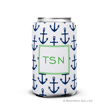 Anchors Navy Personalized Boatman Geller Can Koozies
