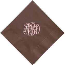 Monogram Foil Stamped Napkins from Embossed Graphics
