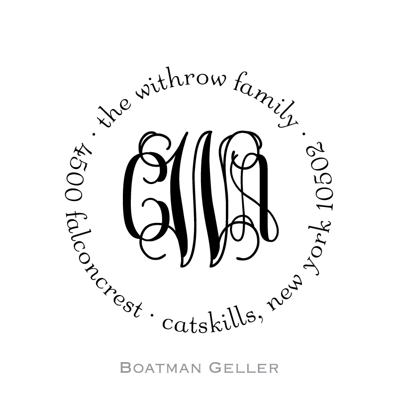 Custom Self Inking Script Monogram Stamper from Boatman Geller