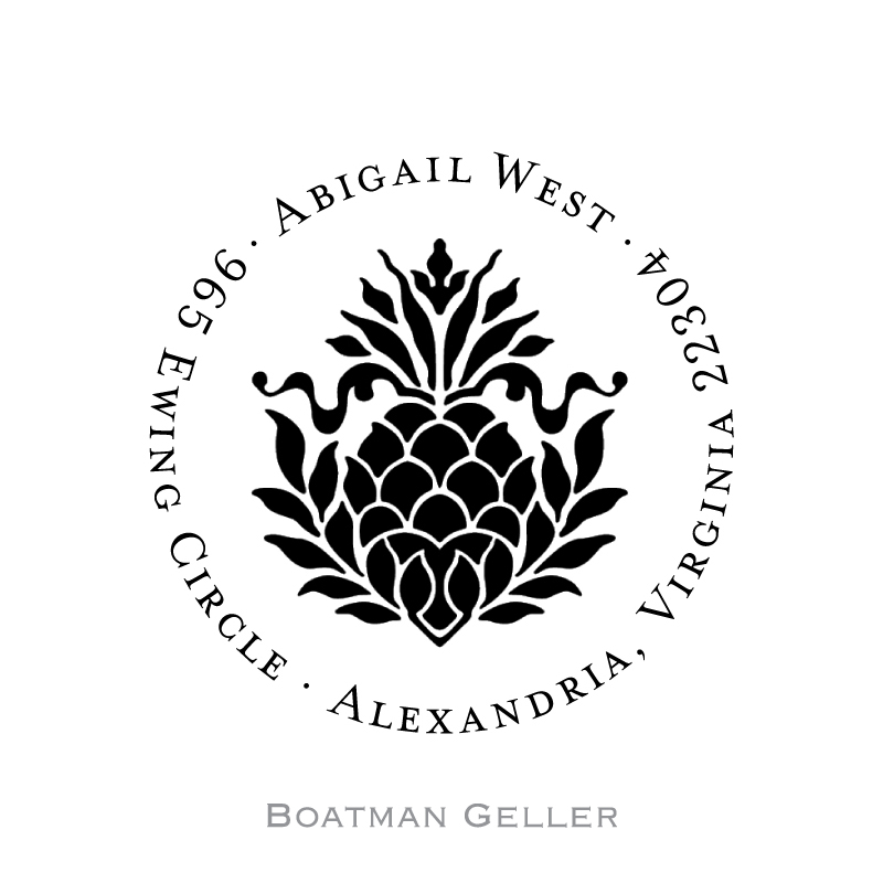 Custom Self Inking Pineapple Ribbon Stamper from Boatman Geller