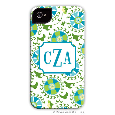 Suzani Teal Personalized Boatman Geller Hard Cell Phone and Tech Cases