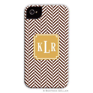 Herringbone Chocolate Personalized Boatman Geller Hard Cell Phone and Tech Cases