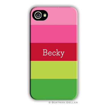 Bold Stripe Pink & Green Personalized Boatman Geller Hard Cell Phone and Tech Cases