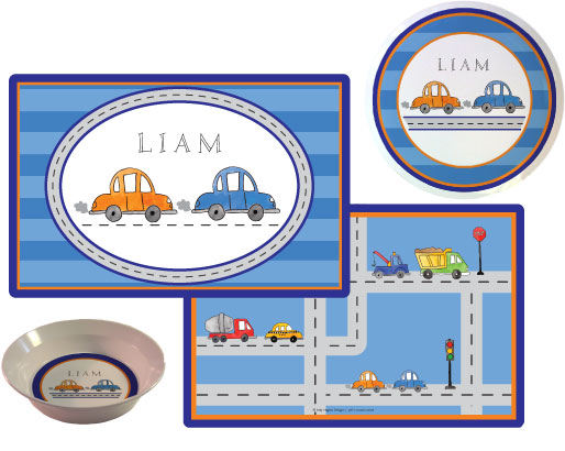 Vroom Vroom Melamine Plate from Kelly Hughes Designs