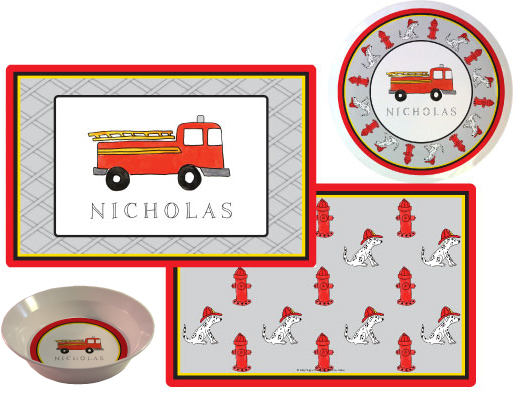 Firetruck Melamine Plate from Kelly Hughes Designs