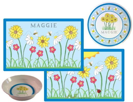 Wild Flowers Melamine Plate from Kelly Hughes Designs