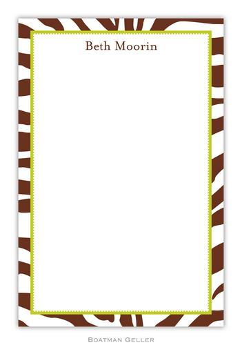 Zebra Brown Personalized Notepads and Note Sheets from Boatman Geller