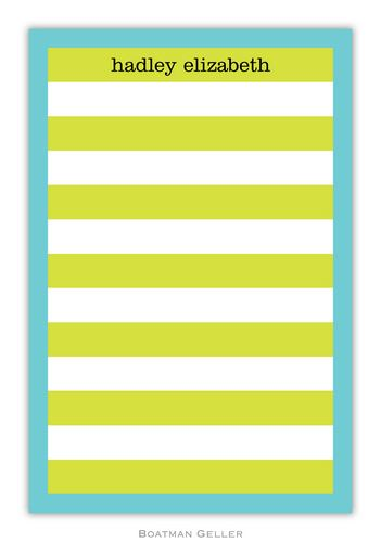 Rugby Lime/Blue Border Personalized Notepads and Note Sheets from Boatman Geller
