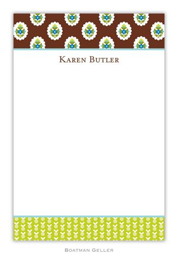 Block Provincial Brown Personalized Notepads and Note Sheets from Boatman Geller