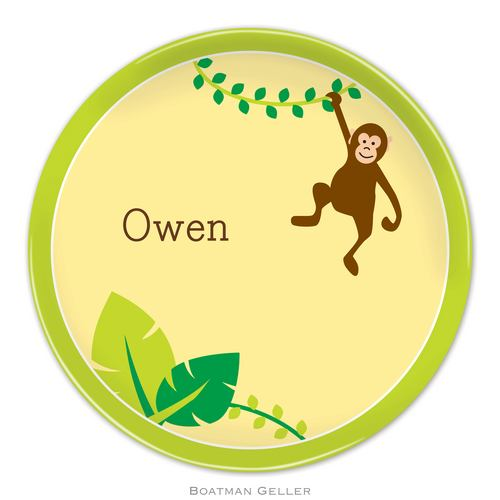 Personalized Melamine Monkey Plate from Boatman Geller