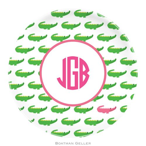 Personalized Melamine Alligator Repeat Plate from Boatman Geller