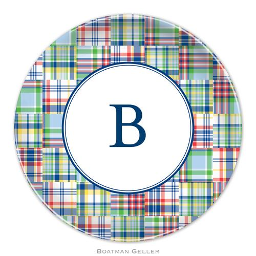 Personalized Melamine Madras Patch Blue Plate from Boatman Geller