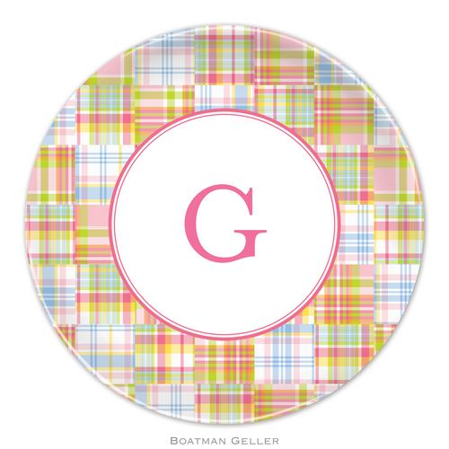 Personalized Melamine Madras Plaid Pink Plate from Boatman Geller