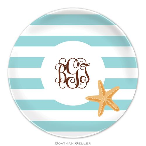 Personalized Melamine Stripe Starfish Plate from Boatman Geller