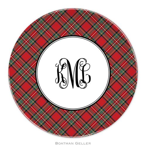 Personalized Melamine Plaid Red Holiday Plate from Boatman Geller