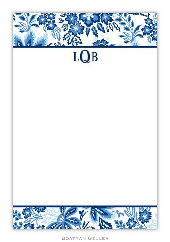 Classic Floral Blue Personalized Notepads and Note Sheets from Boatman Geller