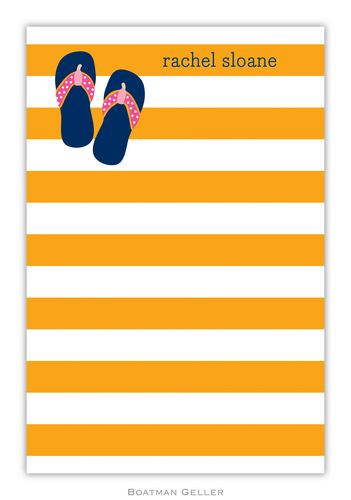 Stripe Flip Flops Personalized Notepads and Note Sheets from Boatman Geller