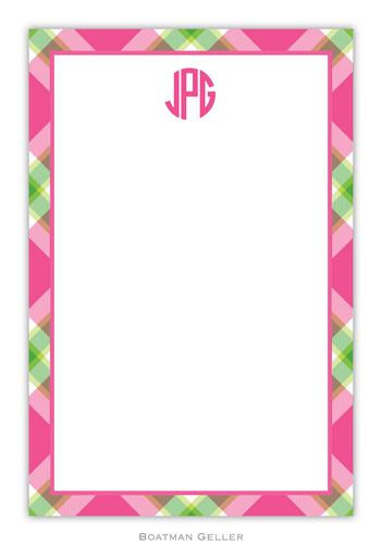 Ashley Plaid Pink Personalized Notepads and Note Sheets from Boatman Geller