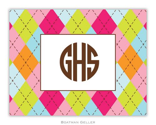 Argyle Multi Pink Foldover Note from Boatman Geller