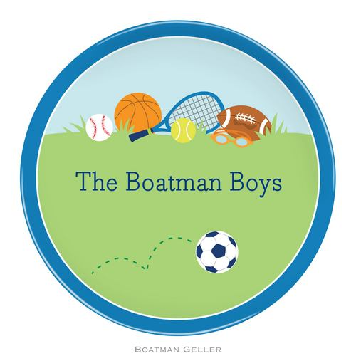 Personalized Melamine Sports Boy Plate from Boatman Geller
