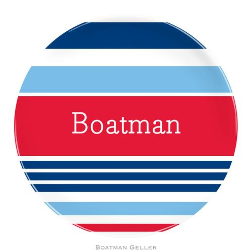 Personalized Melamine Espadrille Nautical Plate from Boatman Geller