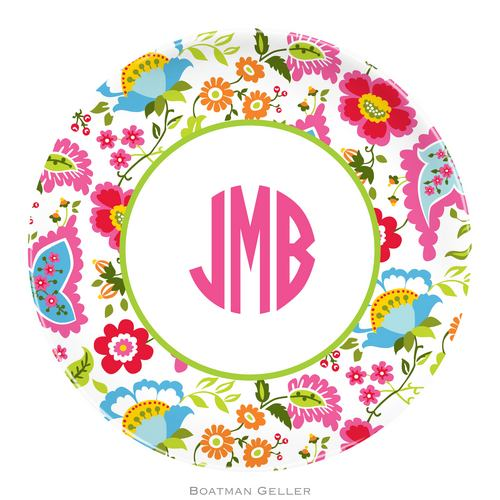 Personalized Melamine Bright Floral Plate from Boatman Geller