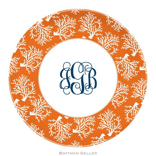 Personalized Melamine Coral Repeat Plate from Boatman Geller