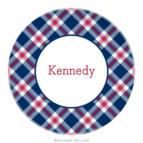Personalized Melamine Ashley Plaid Navy Plate from Boatman Geller