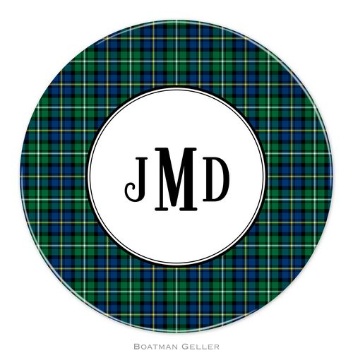 Personalized Melamine Black Watch Plaid Holiday Plate from Boatman Geller