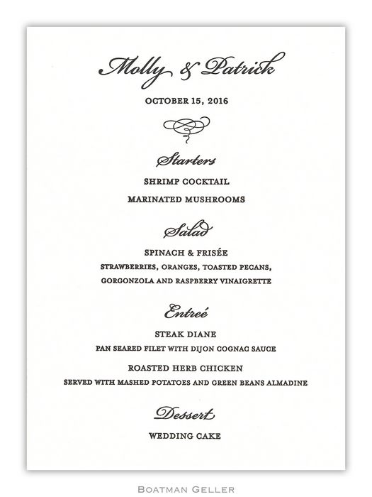 Letterpress Menu Card from Boatman Geller