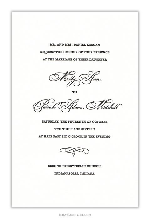 Letterpress Plain Large Flat Invitation from Boatman Geller