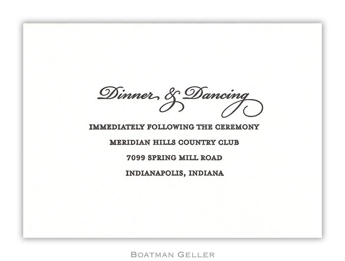 Letterpress Reception Card  from Boatman Geller