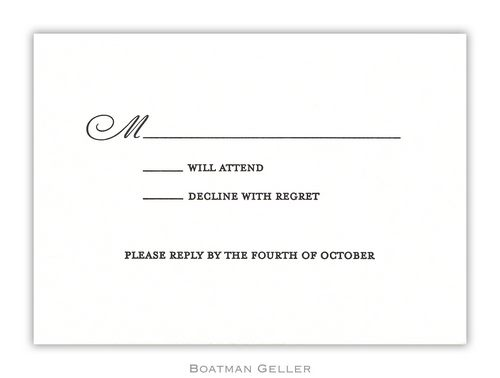 Letterpress Response Card  from Boatman Geller