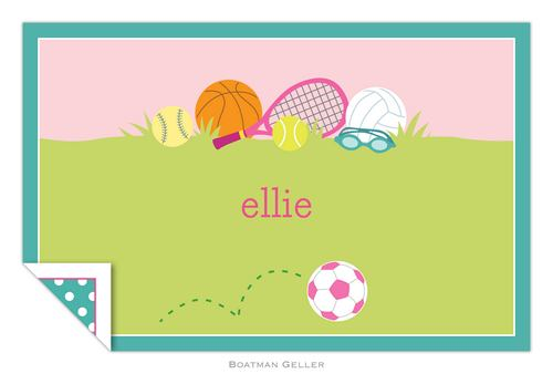 Personalized Sports Girl Placemat from Boatman Geller