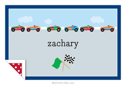 Personalized Race Cars Placemat from Boatman Geller