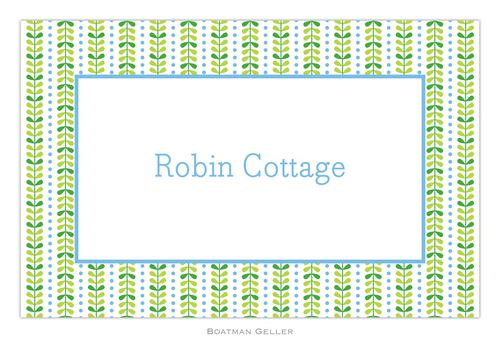 Personalized Bright Vine Green and Blue Placemat from Boatman Geller