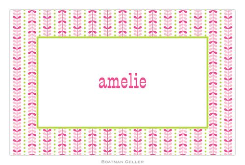 Personalized Bright Vine Pink and Green Placemat from Boatman Geller