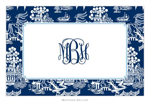 Personalized Chinoiserie Navy Placemat from Boatman Geller