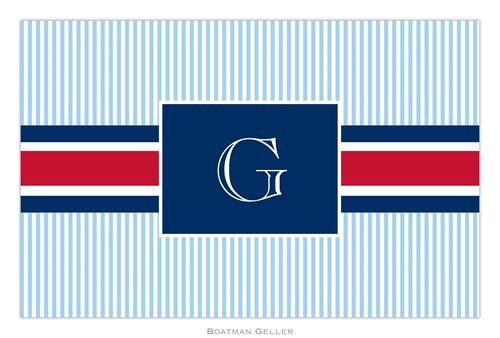 Personalized Grosgrain Ribbon Red & Navy Placemat from Boatman Geller