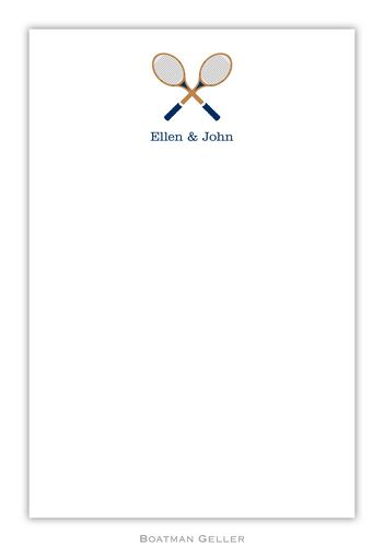 Racquets Crossed Personalized Notepads and Note Sheets from Boatman Geller