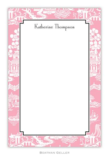 Chinoiserie Pink Personalized Notepads and Note Sheets from Boatman Geller