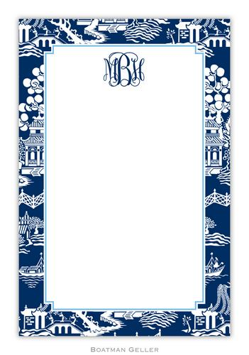 Chinoiserie Navy Personalized Notepads and Note Sheets from Boatman Geller