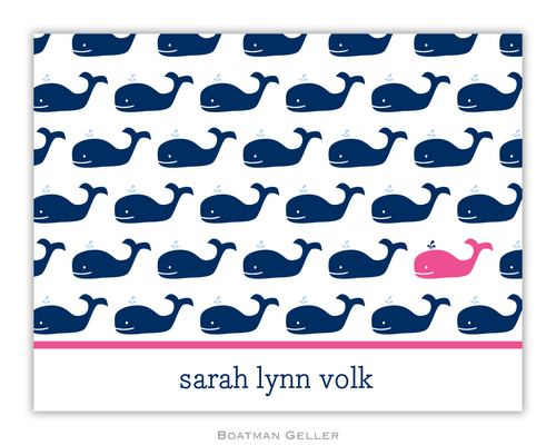 Whale Repeat Navy Foldover Note from Boatman Geller