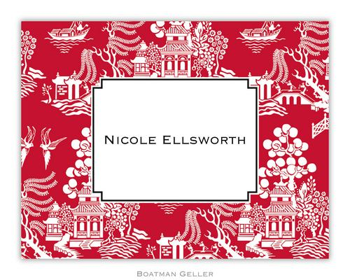 Chinoiserie Red Foldover Note from Boatman Geller