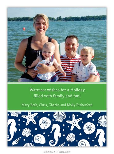 Jetties Navy Holiday 1-Photo Card from Boatman Geller