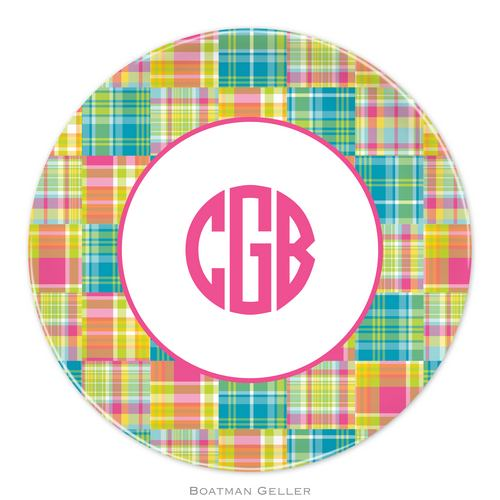 Personalized Melamine Madras Patch Bright Plate from Boatman Geller