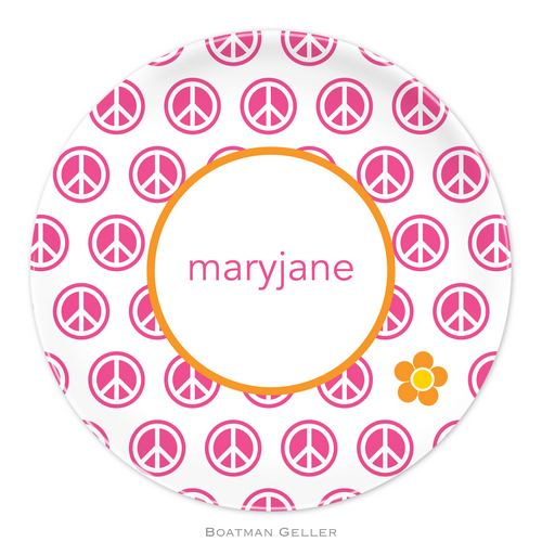Personalized Melamine Peace Repeat Plate from Boatman Geller