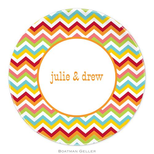 Personalized Melamine Chevron Bright Plate from Boatman Geller